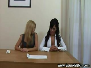 Horny office babes audition hard dick