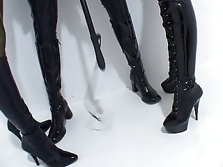 Lesbian BDSM Latex Two doms punish a sub
