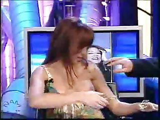 Blouse pulled down in tv