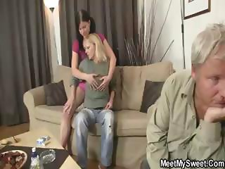 Two gals get naked in front of a guy and eat each other before fucking