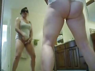 My sexy mum masturbating in front of mirror. Stolen video