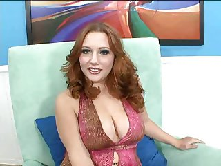 Redhead busty & hottie Rebecca Lane fucks on a sofa bed