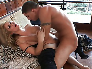 Hot blonde in boots fucked