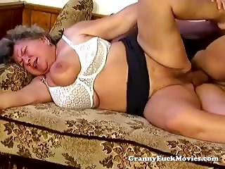 Big fat granny blowing cock