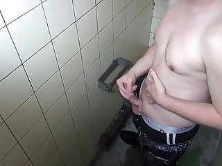 horny wanking and cum in toilete