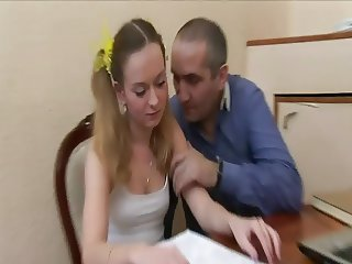 Old Teacher and Hot Russian Student Nice Fuck