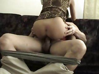 Lucky guy fucking hot blond milf on sofa