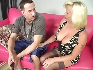 Sexy Milf In Stockings Fucks Her Sons Friend