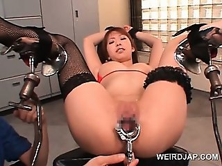 Asian hot sex slave twat opened with speculum in close-up