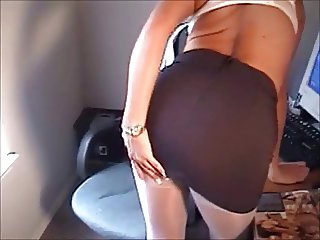 Naughty big-tit blonde fingering in white pantyhose