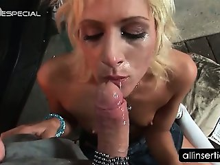 Slutty blonde ass licked and dildoed in close-up