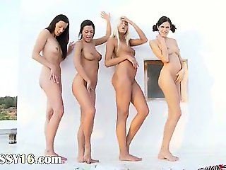 Four lesb babes fingering together