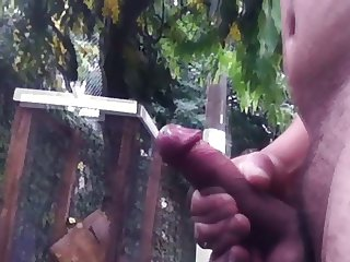 Jerking off in the rain and cum in public