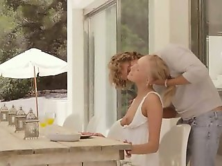 Blonde princess banged in the outdoor
