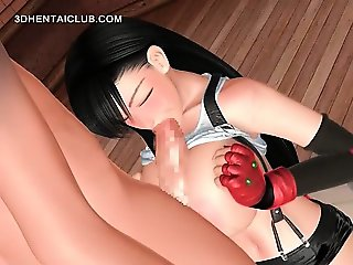 Busty hentai girl tit fucking a large dick