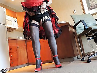 Sissy Ray in Red Sissy Dress and Black Panties in Kitchen