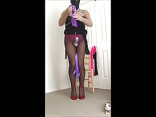 feeling very horny in my white pantyhose cock sheath