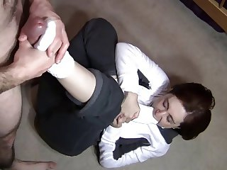 White slouch socks footjob & blowjob. (Preview)