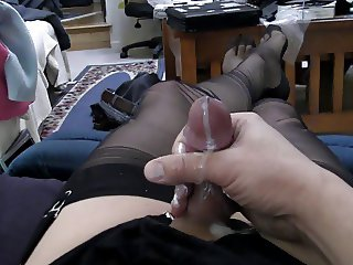 Black full fashioned stockings, garter and my second cum.