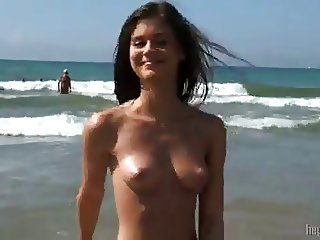 Caprice on a nude beach