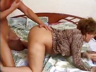 Sexy Older Woman In Glasses Fucks Young Cock