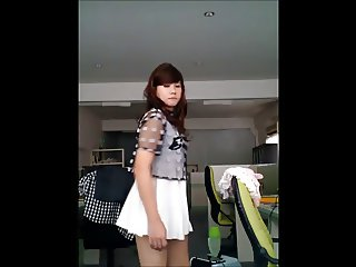Crossdresser shows cute dick then jerks it off with cum