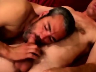 Redneck bear gets jizz in his full beard