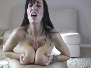 Brunette Hottie Tit-Fucks Your Dick