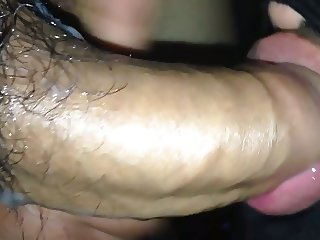 Sucking cock and playing with my friends cum