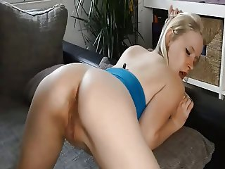 Blondy has anal sex on the sofa