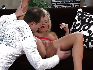 Blonde masturbates her pussy while dick fills her ass on sofa