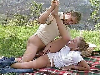 young blonde chick outdoor fucking by older guy