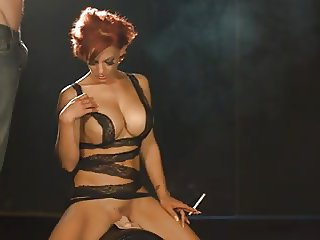 sexy loulou smoking sucking dick and vibrates her pussy