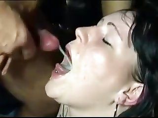 Cumswallowing slutwife at special club