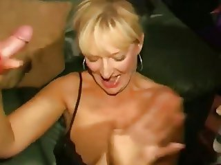 Dirty English slut - Bukkake party 04