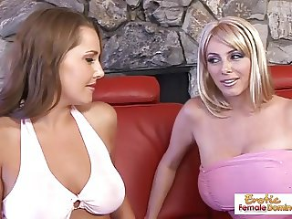 Luscious blonde talks her friend into some lesbian hot fun