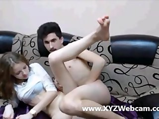 Horny couple webcam sex on couch