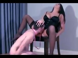 Mistress teaches young guy to lick pussy