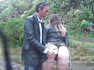blowjob and sex in the rain with amateur MILF