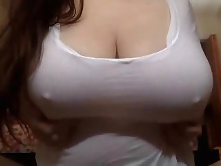 Busty Boob Drop in White T-Shirt