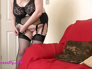 Hot Granny in retro garter and stockings