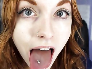 Beautiful redhead tongue fetish