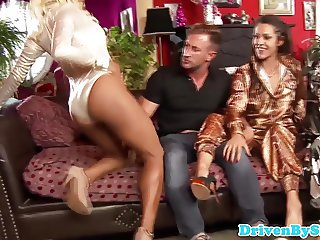 Three glam eurosluts assfucked then they swap cum