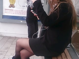 Candid black pantyhose at stop bus