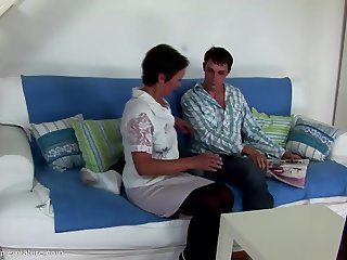 Seduced son cums inside not his mom's vagina