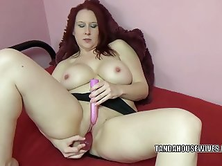 Busty housewife Lia Shayde is playing with two big toys