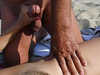 Old dirty turk cums on my wife on beach