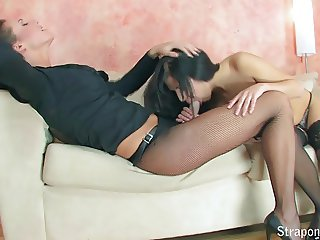 Fishnet Fun! Part 1 of 4. Two Hot Lesbians Get Ready To Play
