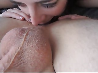 Shorthair Brunette Making Deep Rimjob