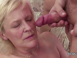 Young Seduce Grandma to get First Fuck and lost His Virgin